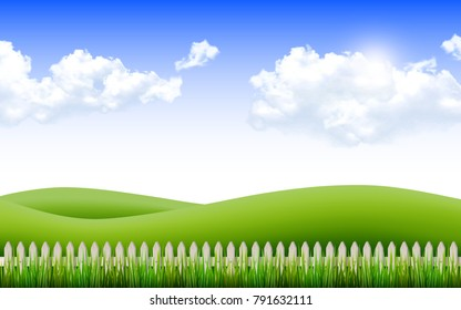 Beautiful nature scene with fence and grass