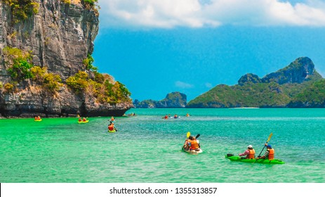Beautiful nature scenic landscape of island with active outdoor group of traveler kayaking, Water tourist travel adventure Samui Thailand, Tourism destination place Asia, Summer holiday vacation trips