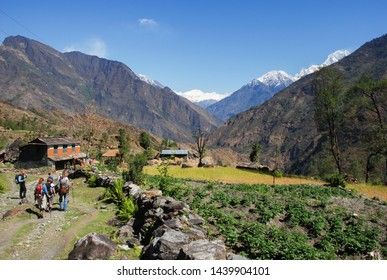 Beautiful nature scenic landscape mountain view with rice field at annapurna circuit mountains,Popular trekking trails in Nepal.