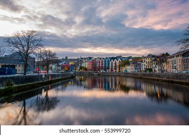 Beautiful nature and streets of Cork, view from one of the bridges over the canal, Europe destination