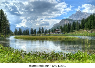 Beautiful nature view at lake at Dolomites Alps. Italy. hdr image