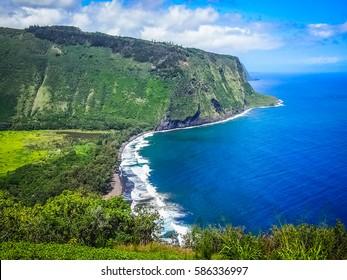 Beautiful Nature from Waipio Valley Lookout in Big Island, Hawaii.