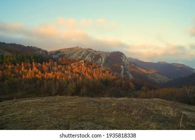 Beautiful nature, warm autumn evening and a fascinating mountain walk