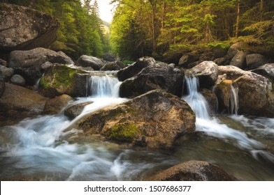 Beautiful nature with water flowing thourgh rocks near Zelene pleso (Green Lake) in High Tatras, Slovakia.