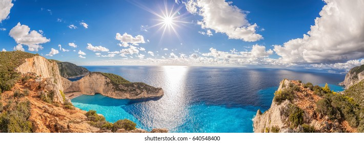 Beautiful Navagio beach panorama with shipwreck on Zakynthos island in Greece