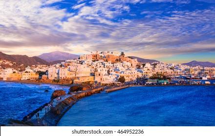 Beautiful Naxos island over sunset, Greece, Cyclades