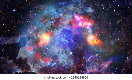 Beautiful nebula and bursting galaxy. Elements of this image furnished by NASA.