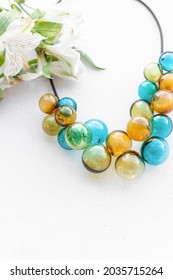 Beautiful necklace made of multicolored glass beads. Natural. Lampwork technique