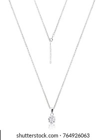 beautiful necklace with pendant with Reflection on white background