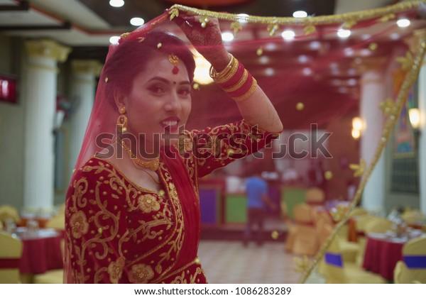 Beautiful Nepali Bride Wedding Dress Make Stock Photo (Edit