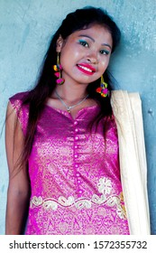 beautiful Nepali girl with beautiful smile with cultural attire,smile, red lips