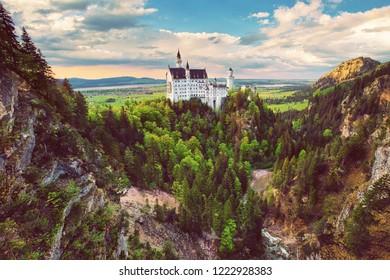 Beautiful Neuschwanstein castle in Bavaria, Germany, popular travel destination