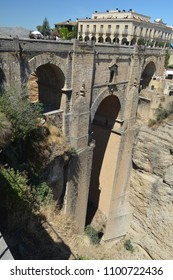 Beautiful New Bridge Of Ronda And Tourism Hostel Built In The 18th Century. August 4, 2016. Travel Archutecture Holidays. Ronda Malaga Andalucia Spain.