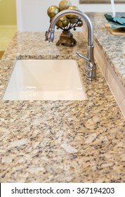 Beautiful new granite countertops in a kitchen