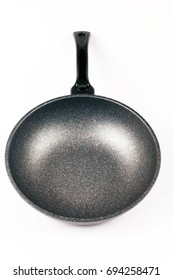 Beautiful new kitchen pan isolated on white background.