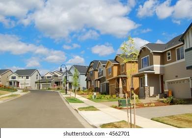 Beautiful New Suburban Houses and Neighborhood