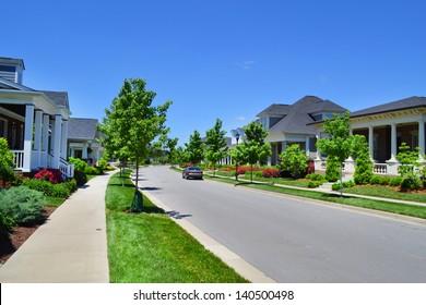 Beautiful, New Suburban Neighborhood in the Summertime