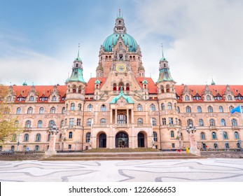 Beautiful New Town Hall Neues Rathaus front view. Hanower. Germany