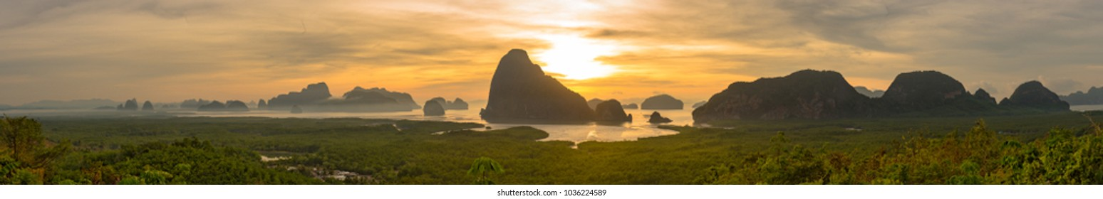 Beautiful new unseen view point of Samed Nang Chee Bay, , twilight sky in the morning, Ao Phang Nga National Park, Thailand, traveling concept.