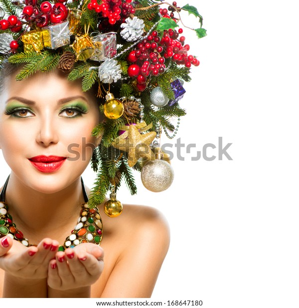 Beautiful New Year Christmas Holiday Woman Stock Photo (Edit