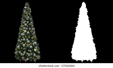Beautiful New Year decorated trees with glowing colorful lights, green shiny Christmas fir with balls, stars and sparkles, isolated on alpha channel with black and white matte