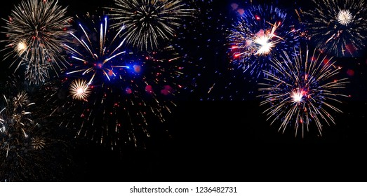 Beautiful New Years Eve Festive Midnight fireworks 2019 Backgound