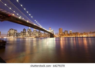 Beautiful New York City skyline at night