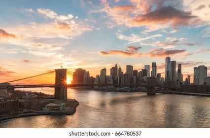 Beautiful New York City skyline at sunset
