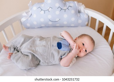 Beautiful newborn baby lying in an round bed with beautiful bumpers in delicate gray, blue, white tones