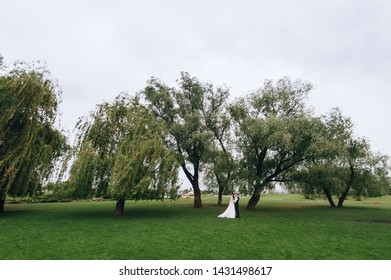 Beautiful newlyweds stand on green grass and cuddle on the background of nature and willow in the garden. Wedding portrait of a stylish bride and a beautiful brunette bride with curly hair.