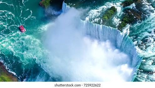 Beautiful Niagara falls aerial view in summer.