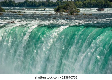 Beautiful Niagara Falls cascades seen from the Canadian side, water falling or constantly flowing in Niagara River
