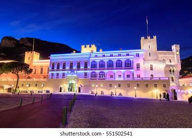 Beautiful night building of Prince's Palace in Monaco-ville, Monaco.