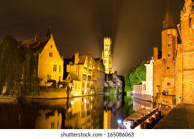 beautiful night cityscape at bruges, belgium