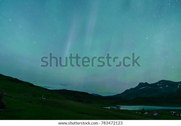 Beautiful night at Igaliku with northern lights, Greenland