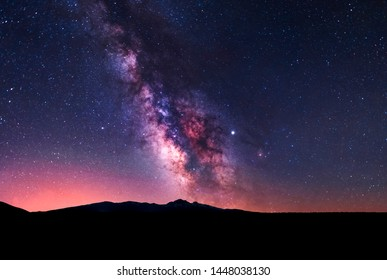 Beautiful night landscape. Starry sky with milky way galaxy over the Aragats mountain. Armenia.