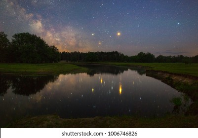 Beautiful night landscape with stars and Milky Way