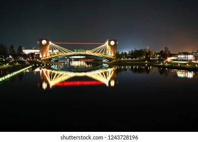 Beautiful night light up Heaven's Gate Bridge in Fugan Canal Park of Toyama City, Japan.