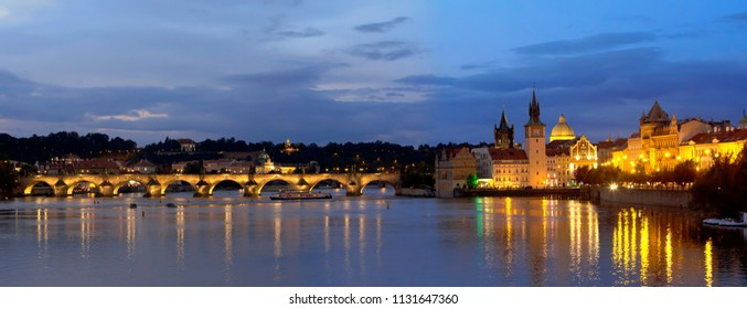 Beautiful night light  panorama cityscape of Prague  with Charles Bridge(Karluv Most)  over Vltava river