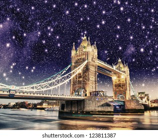 Beautiful night lights and colors over Tower Bridge in London.