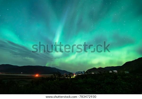 Beautiful night at Narsarsuaq with northern lights, Greenland
