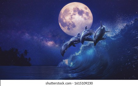 Beautiful night ocean with playful dolphins leaping on surfing wave and full moon on tropical background, mixed media