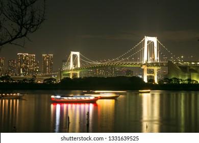 Beautiful of Night Rainbow bridge at Tokyo, Japan