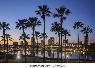 Beautiful night scene around Rainbow Harbor, Long Beach, California, U.S.A.