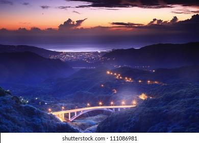 Beautiful night scene of Coastline in Taipei