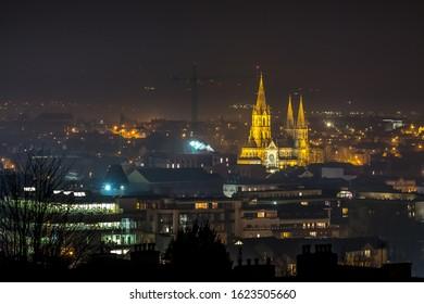 Beautiful night scene Cork Ireland Patrick's Hill panorama Saint Fin Barre's Cathedral