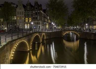 Beautiful night scenery of Amsterdam, Netherlands