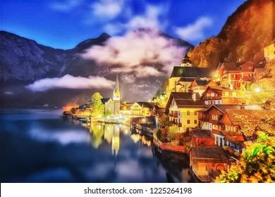 Beautiful night scenery of Hallstatt village and Lake Hallstatter See in Austria. The world UNESCO heritage site. Hallstatt is famous and popular European travel destination. Landscape photography.