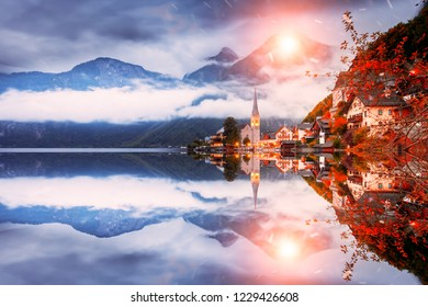 Beautiful night scenery of Hallstatt village and Lake Hallstatter See in Austria. The world UNESCO heritage site. Hallstatt is famous and popular European travel destination. Landscape photography.