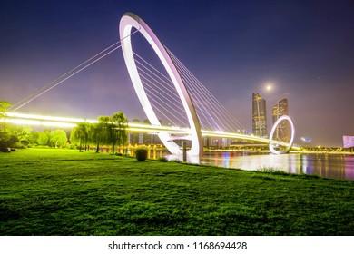 Beautiful night scenery of nanjing eye pedestrian bridge in qingao village, nanjing, jiangsu, China, Asia